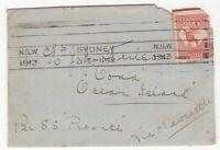 """Australia interesting 1913 cover 1d kangaroo to Ocean Island per SS """"PROMISE"""""""