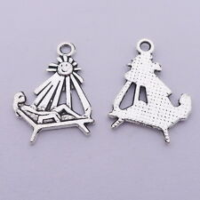 15pcs Charms Lying in the Beach Chair Old Silver DIY Bracelet Pendant 19*26mm