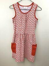 Hanna Andersson 160 14 Side Pocket Dress Sundress Red White Floral Racerback