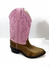 Youth Girls Old West Western Boots Pink & Brown Leather Sz 5.5