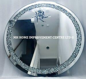 Diamond Crush Diamante Crystal Large Silver Sparkly Round Wall Mirror 70cm
