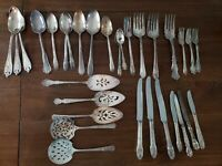 Vintage Silverware Lot Serving Pieces, Spoons, Forks, Knifes 32 Pieces