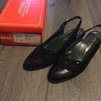 Sandalen ARA Naturform VERONA*Gr. 7 H/ Gr. 41*schwarz*echtes Leder*Sling-Pumps