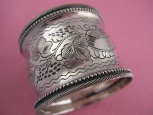 Early Coin Silver NAPKIN RING w/ engraved grape leaf & vine pattern