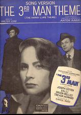 "THIRD MAN Sheet Music ""Theme (Song Version)"" Orson Welles Valli Anton Karas"