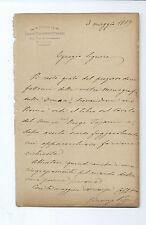 Letter Autograph Lawyer Vincenzo Borger Naples to Federigo criscuolo 1889