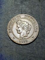 1871 A FRANCE 5 Centimes Coin