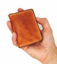 Compact Real Italian Leather Card Wallet Saddle tan Handmade