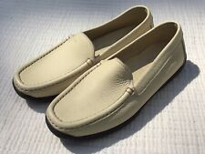 Geox Respira Creme Pebbled Leather Slip On Loafer Made in Italy Sz 38.5