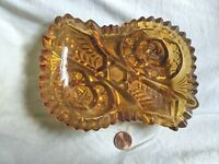 Vintage AMBER GLASS ASHTRAY(?) CANDY DISH(?) With Fancy Design LQQK