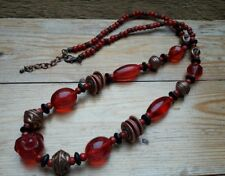 Lovely Big Eclectic Bead Necklace/Copper & Red/Glass Effect/Hippy/Boho/Ethnic