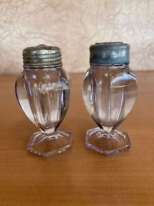 Antique Sun Purple Glass Salt & Pepper Shaker Glass Lid