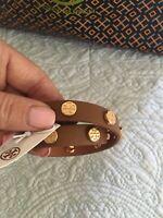 TORY BURCH  Double Wrap Logo Stud Bark Leather Cuff Bracelet Reversible NWT