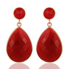 Red Aventurine 18k Rose Gold Plated Fashion dangle Earring Silver Jewelry