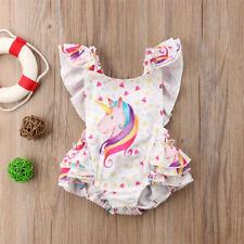 Cute Newborn Baby Girls Unicorn Romper Dress Jumpsuit Bodysuit Clothes Outfit