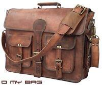 """18"""" Leather Messenger Bag Mens Briefcase Laptop Shoulder Satchel School Brown"""