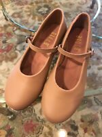 "Bloch SO302 Leather Tap On Tan 1"" Heel Techno Taps Girls size 13 13.5 mixed size"