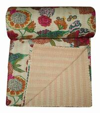 Indian Handmade Kantha Quilt Bedspread Blanket Throw Beige Floral Pure Cotton