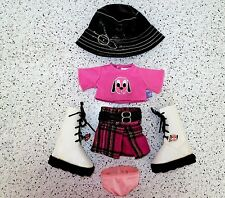 """Friends 2B Made Clothes Puppy Shirt Skirt Boots 2 Charms Hat 15"""" Bab Lot A21"""