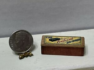 Vintage Artisan FINE Wooden Box of Dominoes Filled Dollhouse Miniature 1:12