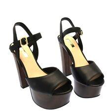 Guess Platform Sandals Female Black Size 5 - FLDE21LEA03-BLACK-38