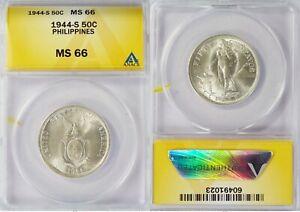 1944-S US/Philippines 50 Centavos ~ ANACS MS66 ~ Allen#15.01 ~ 1023