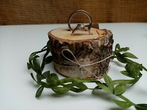 Wooden Wedding Ring Holder Rustic Ceremony Woodland Ring Cushion Pillow Bearer