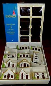 Vintage Alpine Village Set 10 Cardboard Christmas Houses Church Alderbrook 1970s