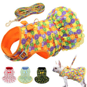 Summer Pet Harness and Leash Set Cute Bow Skirt Soft Mesh Padded Floral Dress