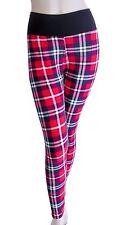 Red White & Blue Plaid Leggings Pants Punk Rocker One Size Fits Sizes 0 - 14