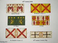 28mm  Renaissance Elizabethan Tudor 16th Century Irish flags (1)