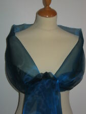 Kingfisher blue shimmer organza wrap/stole bridesmaid / evening wear / prom
