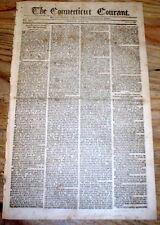 Original 1795 CONNECTICUT COURANT Hartford newspaper - Oldest Continuous in US