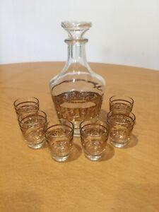 Vintage Retro Clear Decanter Bottle 6 Small Glasses Set Bar Gold Filigree France