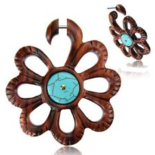 PAIR 18G FLOWER SONO WOOD FAUX FAKE CHEATER PLUGS TURQUOISE LONG GAUGES TALONS