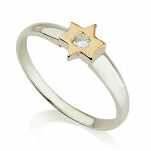 Silver 925 With 9K Pure Gold Ring With Jewish Star Of David Symbol At Center