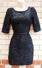RIVER ISLAND BLACK SILVER GLITTER FLUFFY HAIRY WINTER PARTY EVENING TUBE DRESS 6
