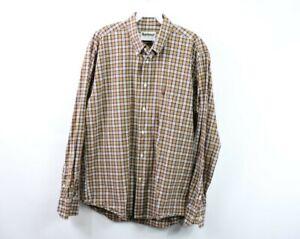 Barbour Mens Medium Regular Fit Long Sleeve Casual Plaid Button Shirt Cotton