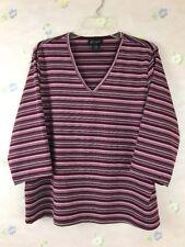 Lane Bryant Blouse V-Neck Size 18/20 Multi-Color Red Pink Striped 3/4 Sleeve USA