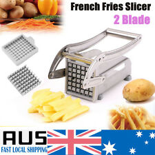 2 Blades French Fries Slicer Potato Chipper Chopper Cutter Chip Maker Steel NEW