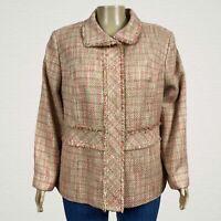 Elisabeth Liz Claiborne Tweed Fringe Blazer Jacket 3X PLUS Tan Pink Metallic