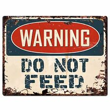 PP1040 WARNING DO NOT FEED Plate Rustic Chic Sign Home Store Decor Gift