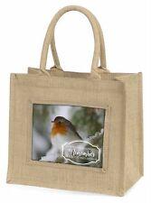 Little Robin Red Breast Large Natural Jute Shopping Bag Christmas Gi, Robin-1BLN
