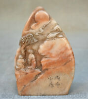 "4 ""Chinois en pierre de Shoushan sculpté pin de montagne arbre Old Man Seal"