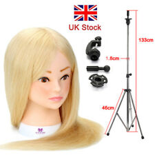 """22"""" 100% Real Human Hair Hairdressing Training Wig Head Mannequin + Holder"""