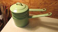 Antique Mint Green Enamelware Double Boiler No Cream