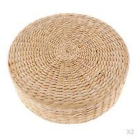 2 Pieces Straw Round Seat Cushion Tatami Futon Floor Mat Meditation Pillow