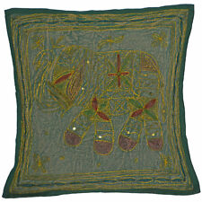 Green Elephant Cushion Cover Indian Handmade Cotton Embroidered Sequin 38cm