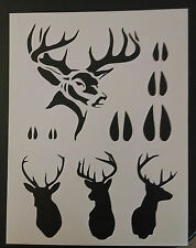 "Hunting Buck Head Tracks Rack Deer 8.5"" x 11"" Custom Stencil FAST FREE SHIP"