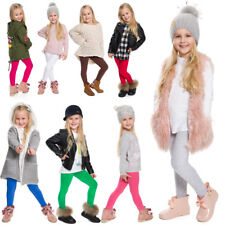 Children Kids Girls Plain Cotton Thick Full Length Leggings Party Pants All Ages